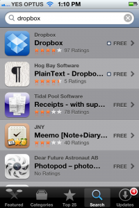 Dropbox in the app store