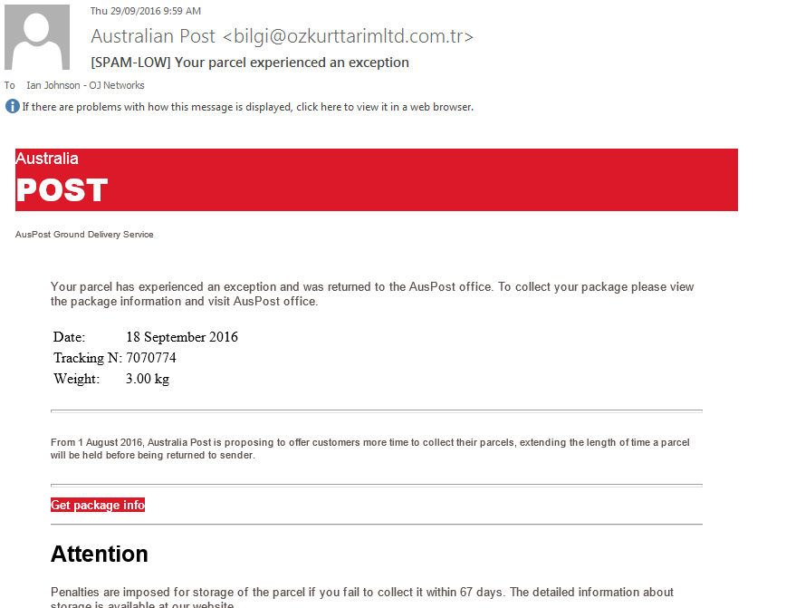 Australia Post Scam Email